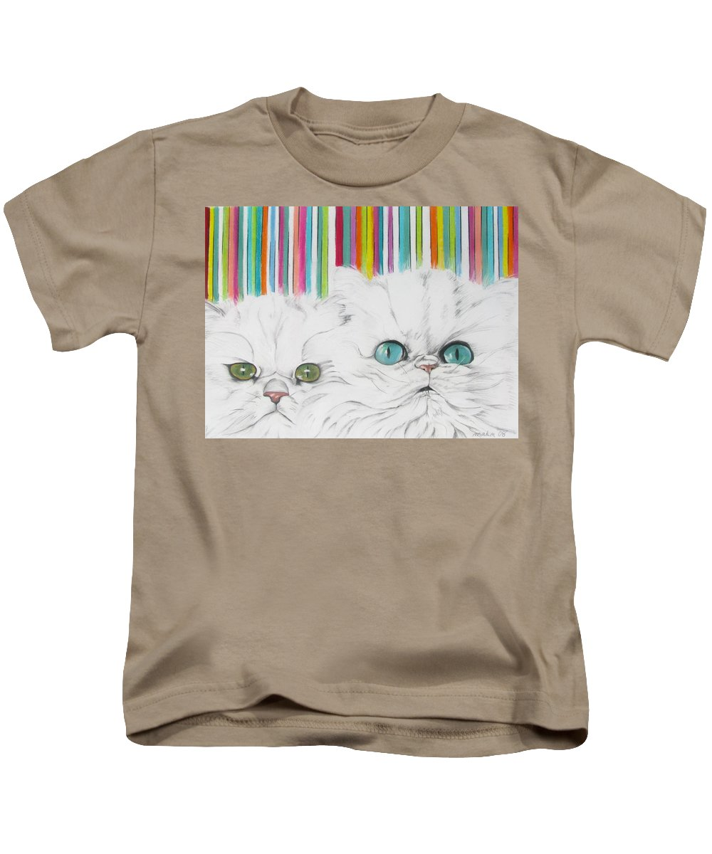 Cat Painting Kids T-Shirt featuring the pastel Harley And Chloe by Michelle Hayden-Marsan