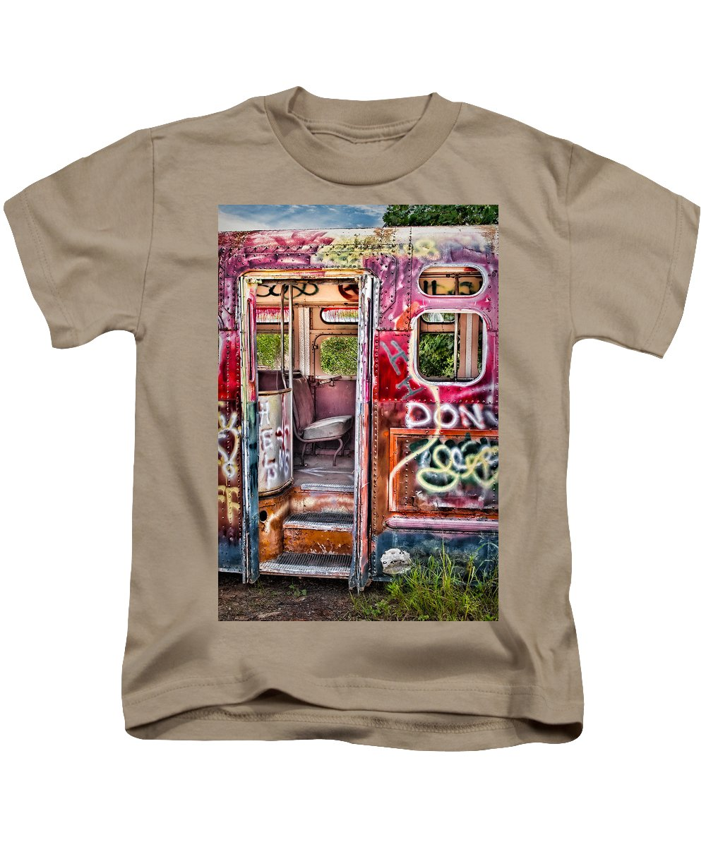 Graffiti Kids T-Shirt featuring the photograph Haunted Graffiti Art Bus by Susan Candelario