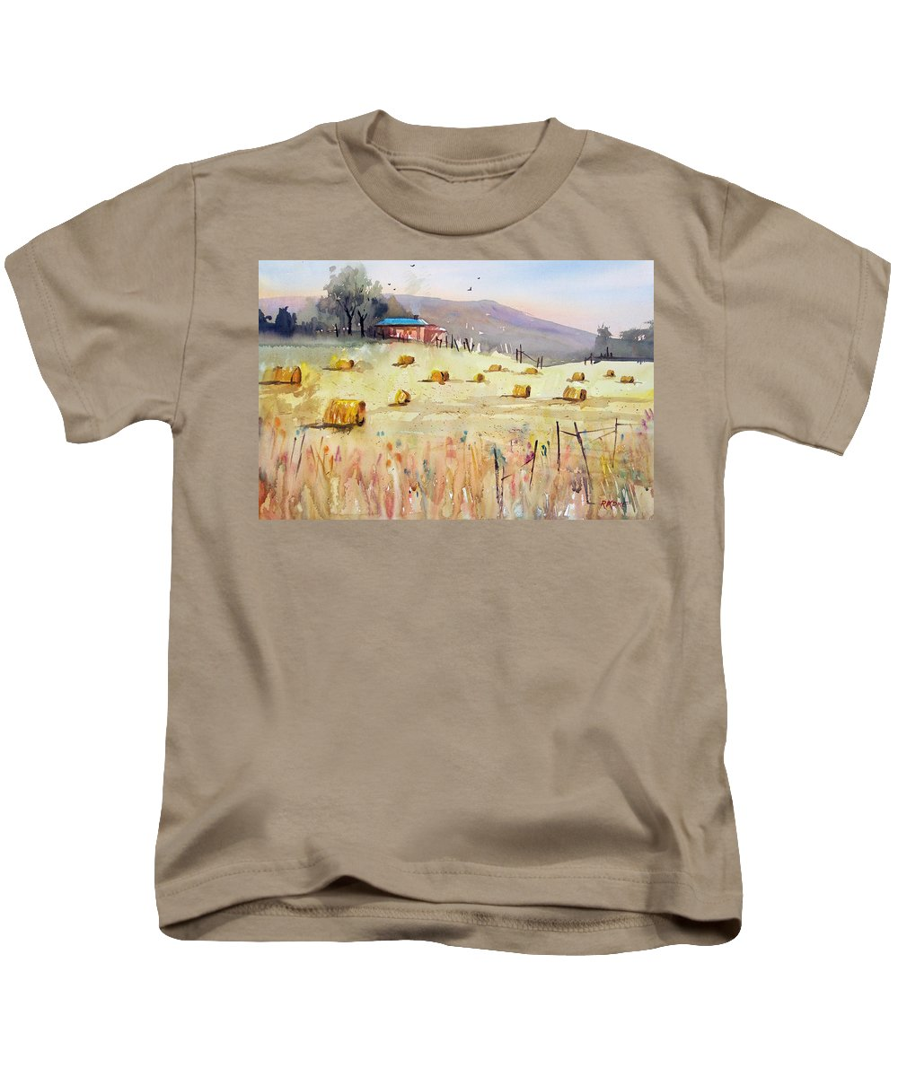 Watercolor Kids T-Shirt featuring the painting Hay Bales by Ryan Radke