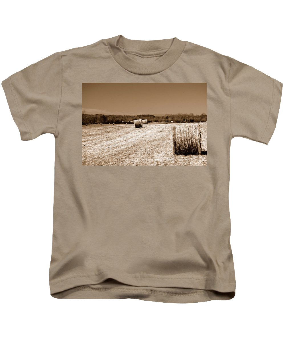 Hayfield Kids T-Shirt featuring the photograph Hayfield by Timothy Markley