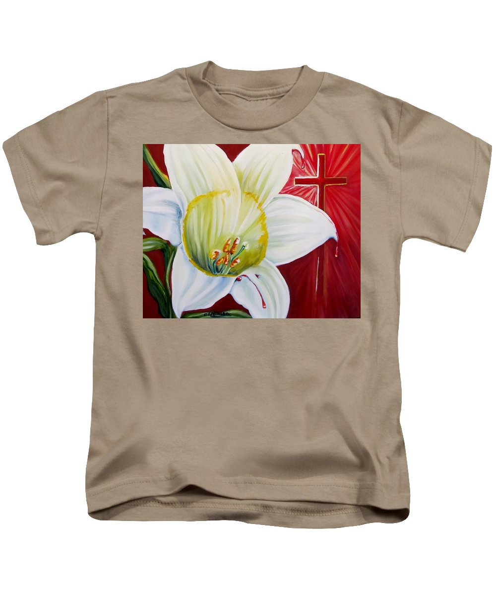Easter Kids T-Shirt featuring the painting He Lives by Carol Allen Anfinsen