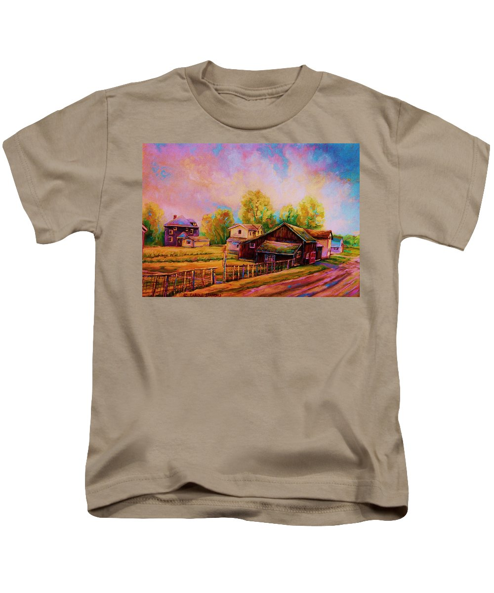 Landscape Kids T-Shirt featuring the painting Hearth And Home by Carole Spandau