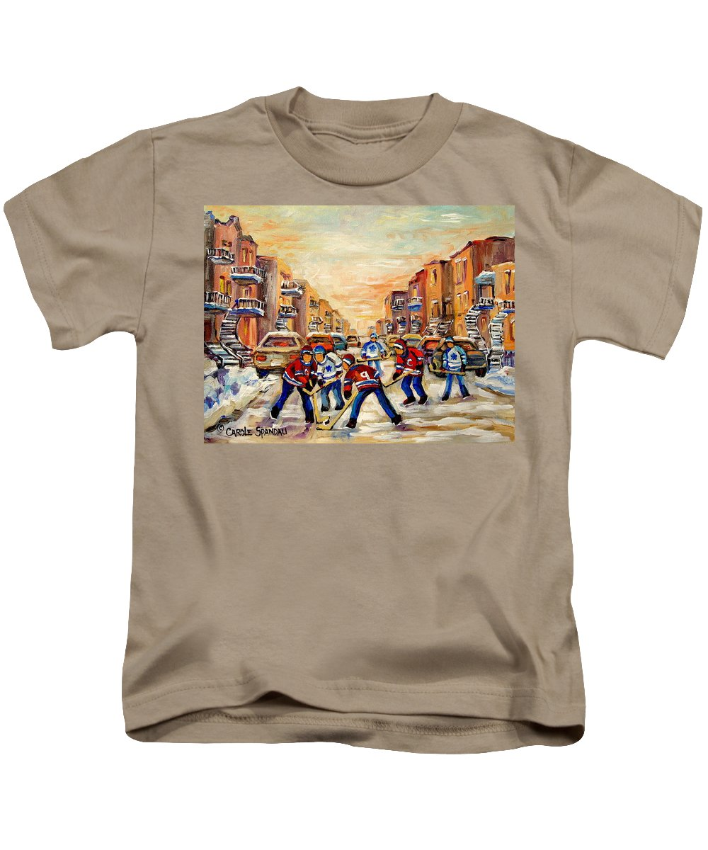 Heat Of The Game Kids T-Shirt featuring the painting Heat Of The Game by Carole Spandau