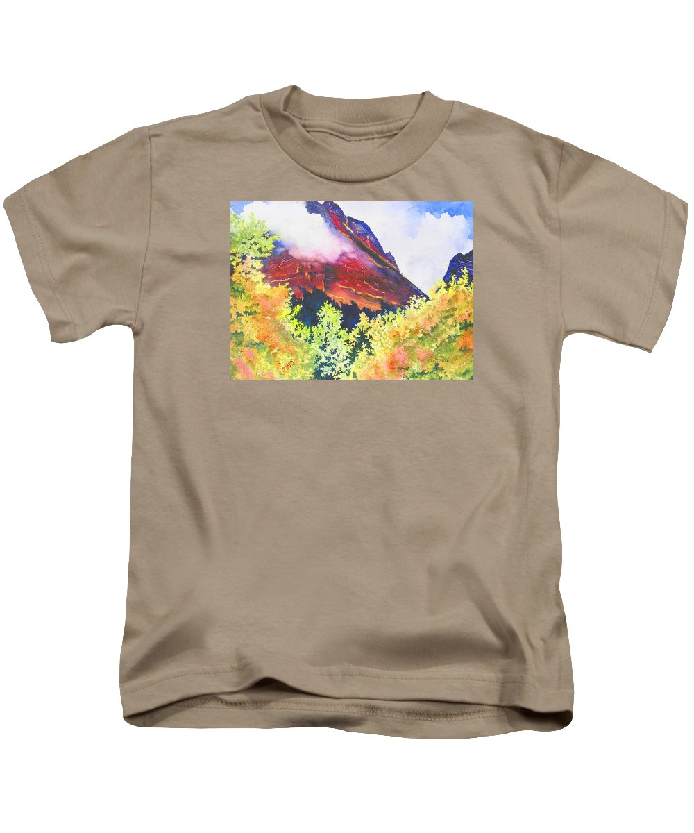 Mountain Kids T-Shirt featuring the painting Heights Of Glacier Park by Karen Stark