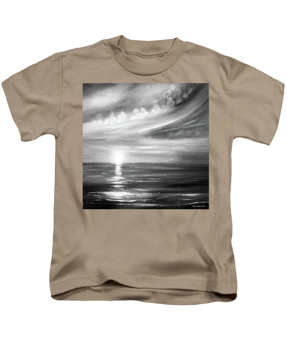 Sunset Kids T-Shirt featuring the painting Here It Goes - Square Sunset In Black And White by Gina De Gorna