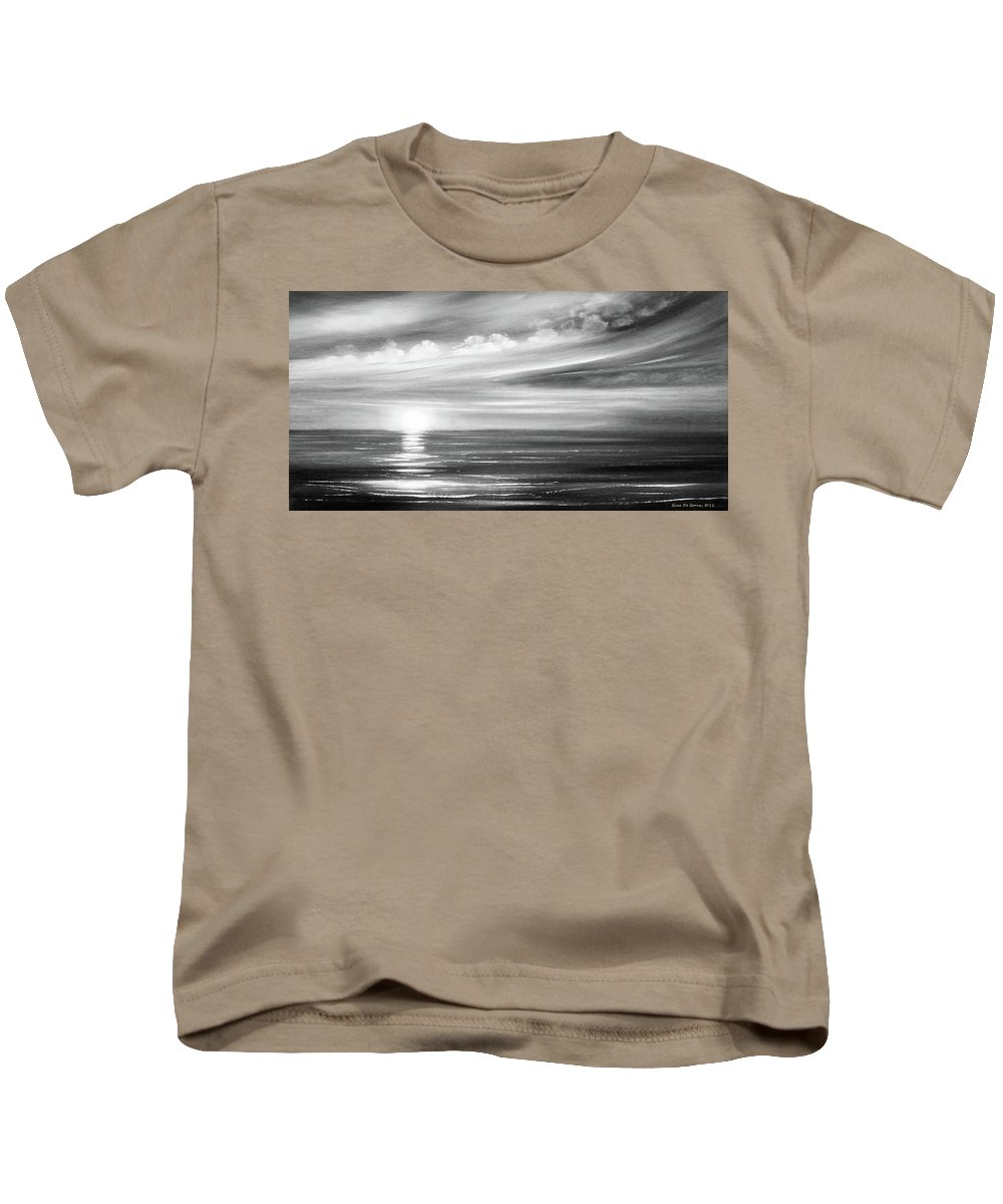 Sunset Kids T-Shirt featuring the painting Here It Goes In Black And White by Gina De Gorna