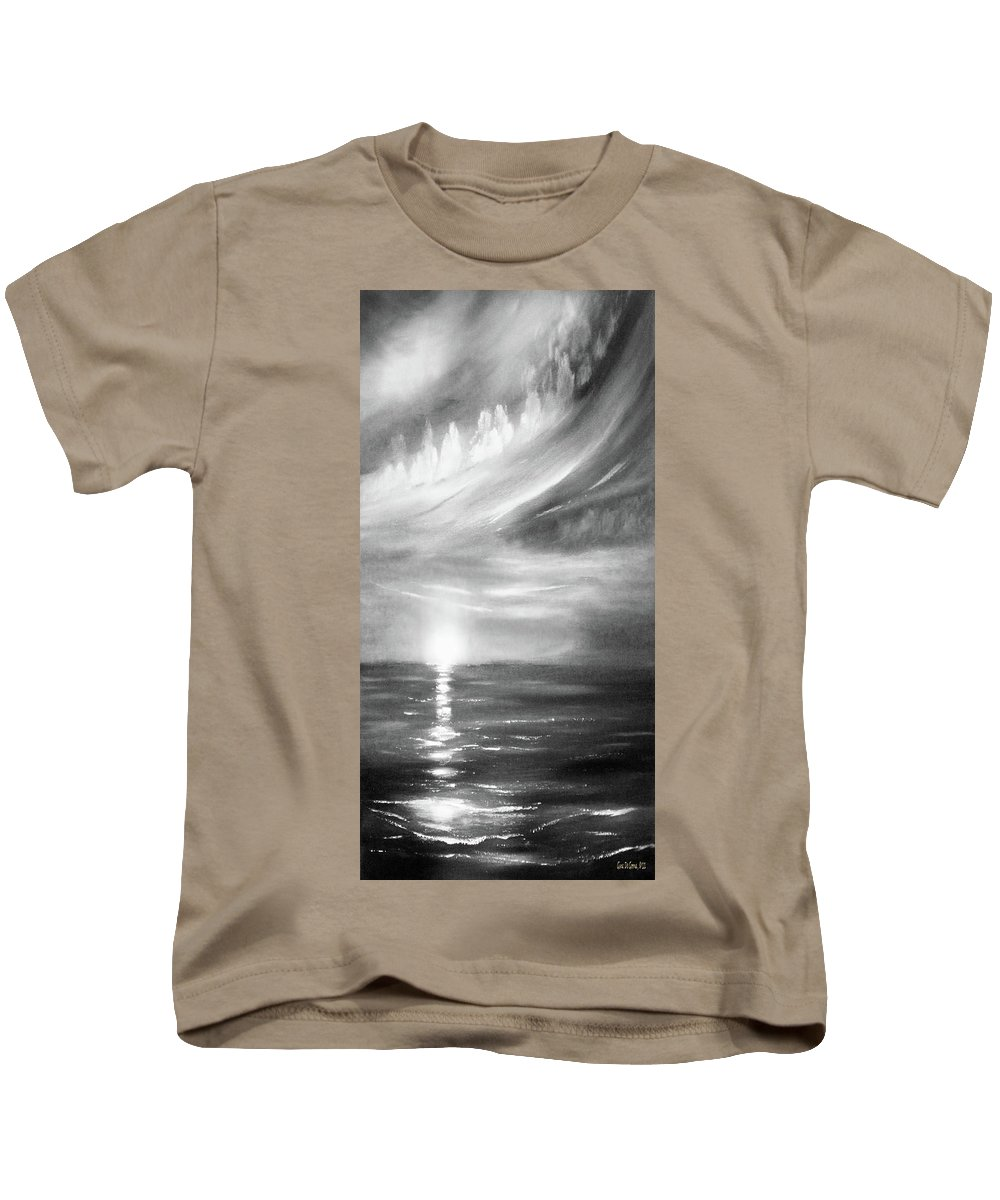 Sunset Kids T-Shirt featuring the painting Here It Goes -vertical Sunset In Black And White by Gina De Gorna