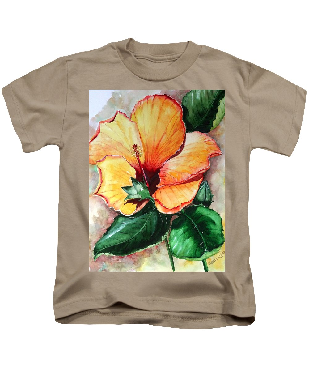 Flower Paintings Bloom Paintings Caribbean Paintings Floral Paintings Tropical Paintings Yellow Hibiscus Paintings Greeting Card Paintings Canvas Print Paintings Poster Art Paintings Kids T-Shirt featuring the painting Hibiscus Sunny by Karin Dawn Kelshall- Best