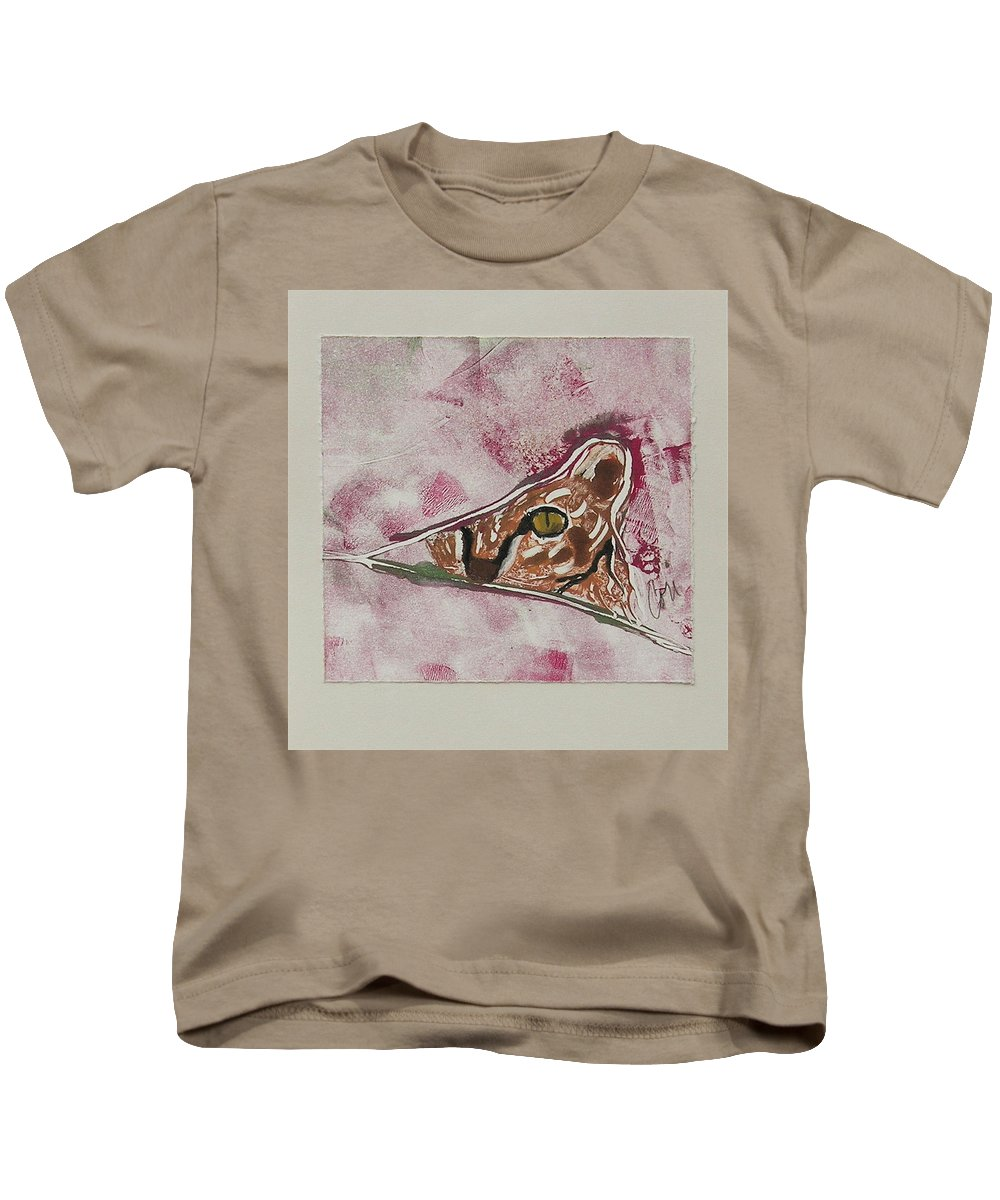 Cat Kids T-Shirt featuring the mixed media Hide And Seek by Cori Solomon