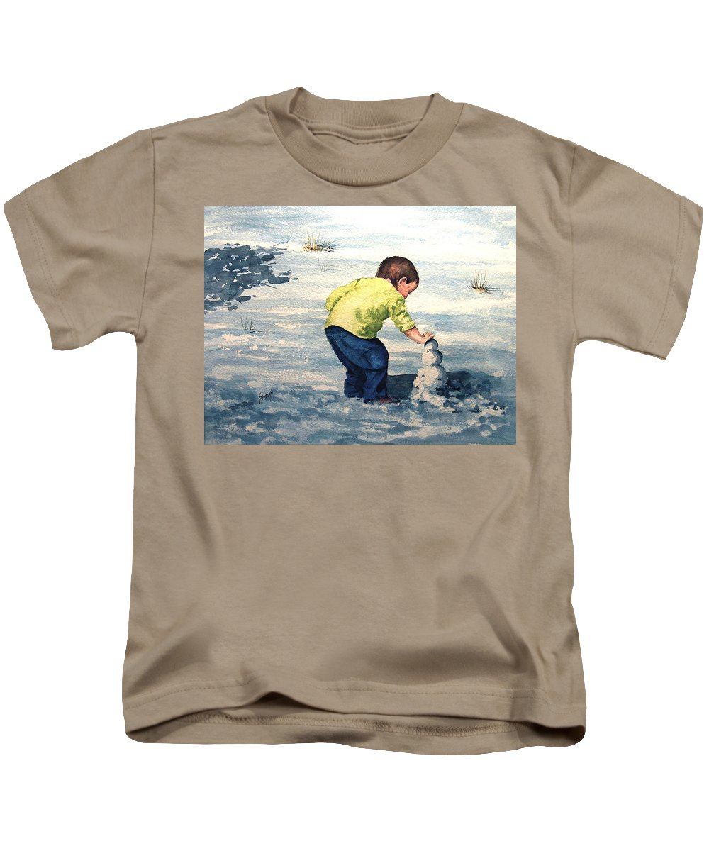 Child Kids T-Shirt featuring the painting High Country Snow Girl by Sam Sidders