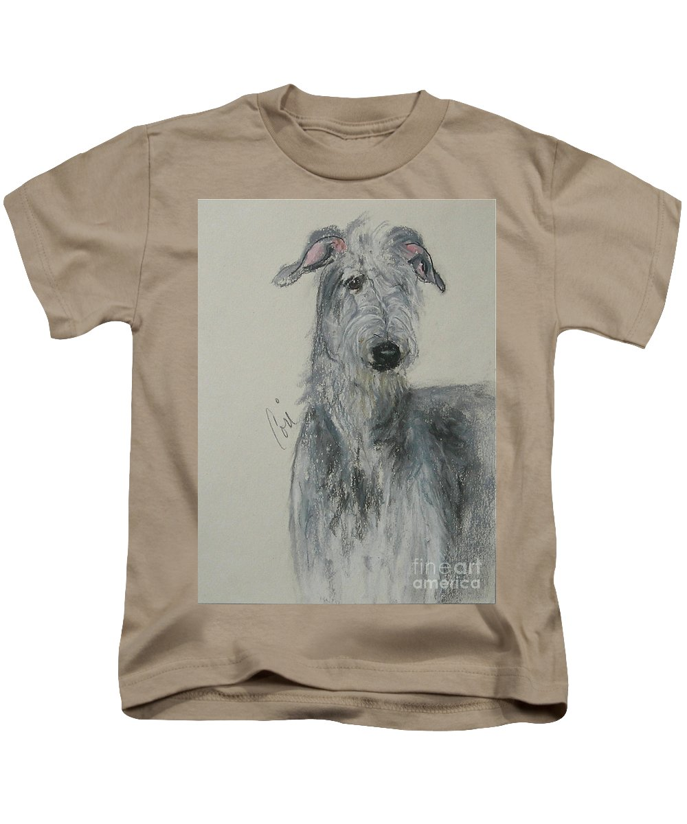 Scottish Deerhound Kids T-Shirt featuring the drawing Highland Hunter by Cori Solomon