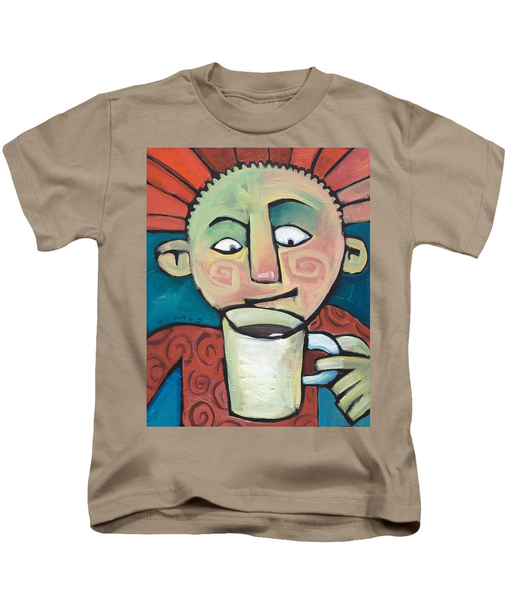 Smile Kids T-Shirt featuring the painting His Coffee Spoke To Him by Tim Nyberg