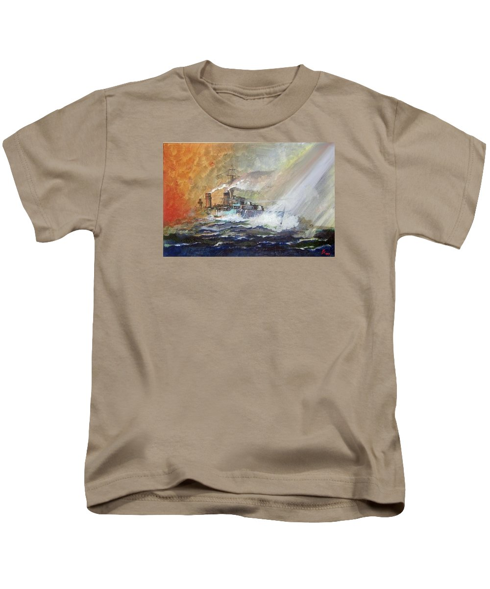 Wwii Kids T-Shirt featuring the painting Hms Duncan by Ray Agius
