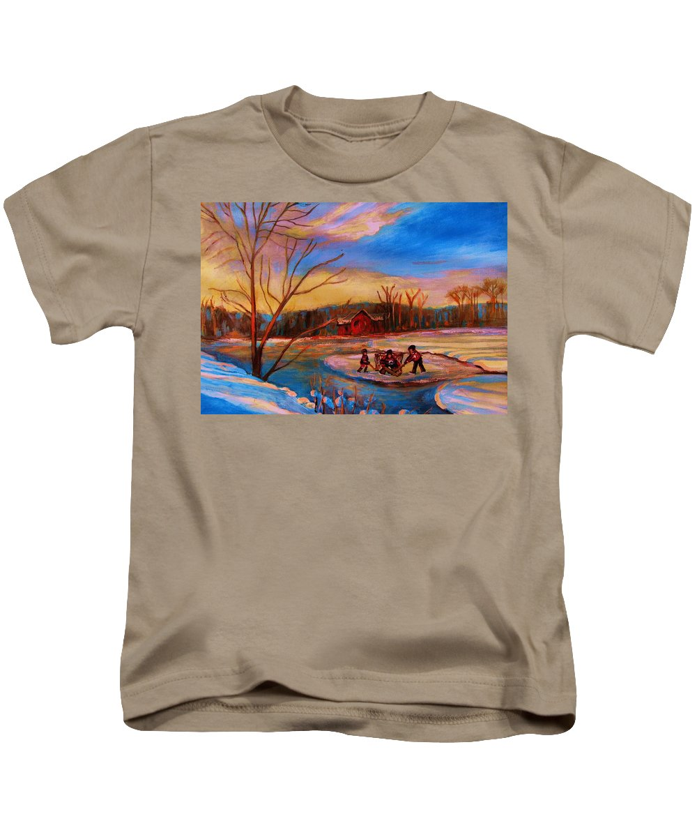 Pond Hockey Kids T-Shirt featuring the painting Hockey Game On Frozen Pond by Carole Spandau