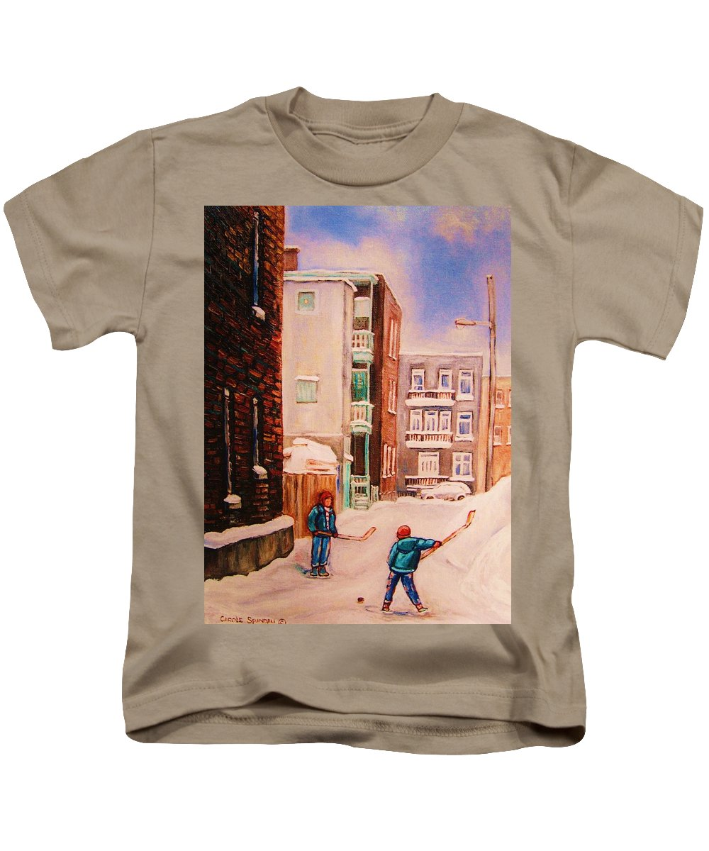 Hockey Kids T-Shirt featuring the painting Hockey Practice by Carole Spandau