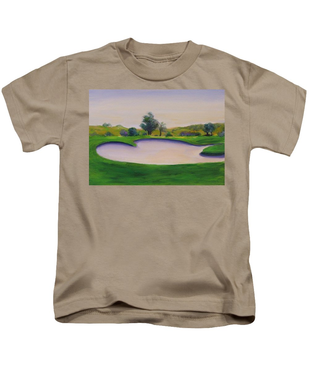 Golf Kids T-Shirt featuring the painting Hole 2 Nuttings Creek by Shannon Grissom