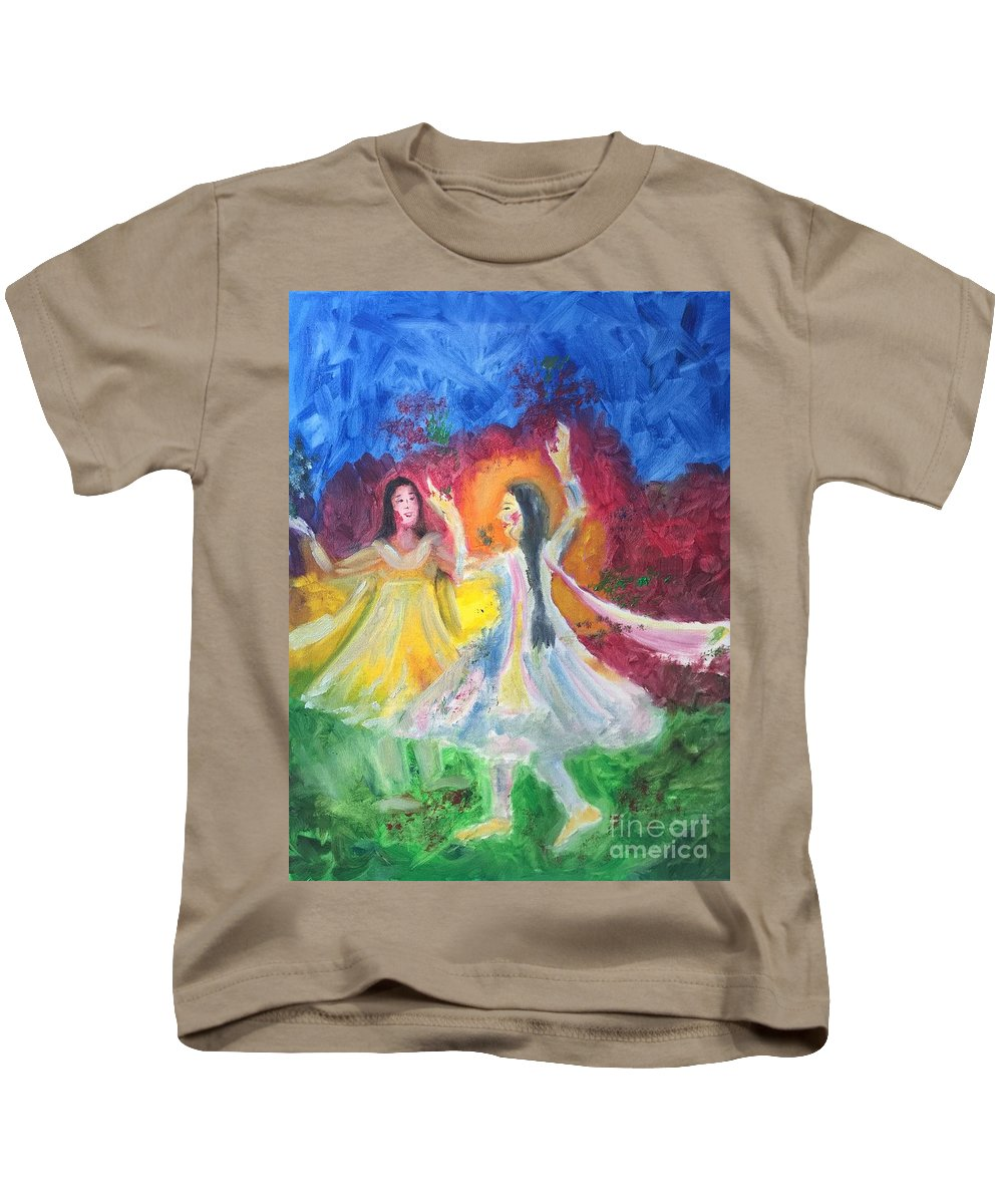 Holi Kids T-Shirt featuring the painting Holi-festival Of Colors by Brindha Naveen