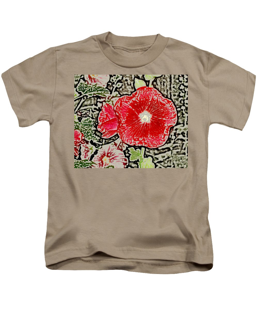 Flower Kids T-Shirt featuring the photograph Hollyhock by Wayne Potrafka