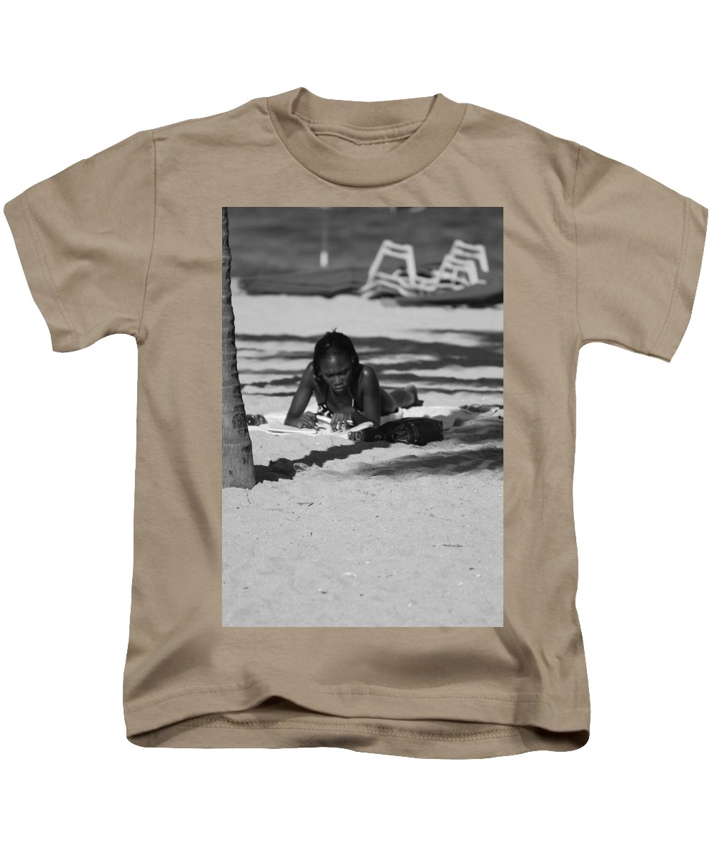 Black And White Kids T-Shirt featuring the photograph Homework At The Hollywood Beach by Rob Hans