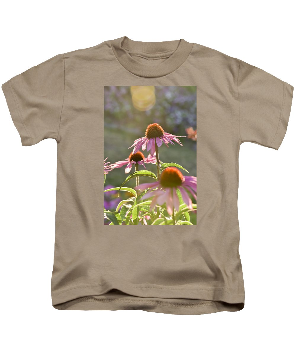 Echinacea Kids T-Shirt featuring the photograph Rise Up by Joy McAdams