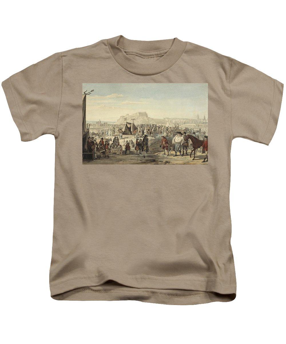 Paul Sandby Kids T-Shirt featuring the painting Horse Fair On Bruntsfield Links, Edinburgh by Paul Sandby