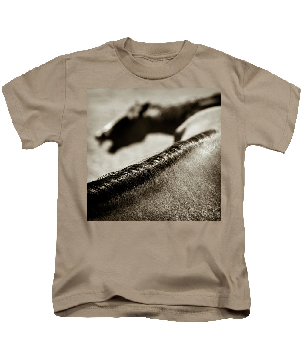 Horses Kids T-Shirt featuring the photograph Horse Play by Dave Bowman