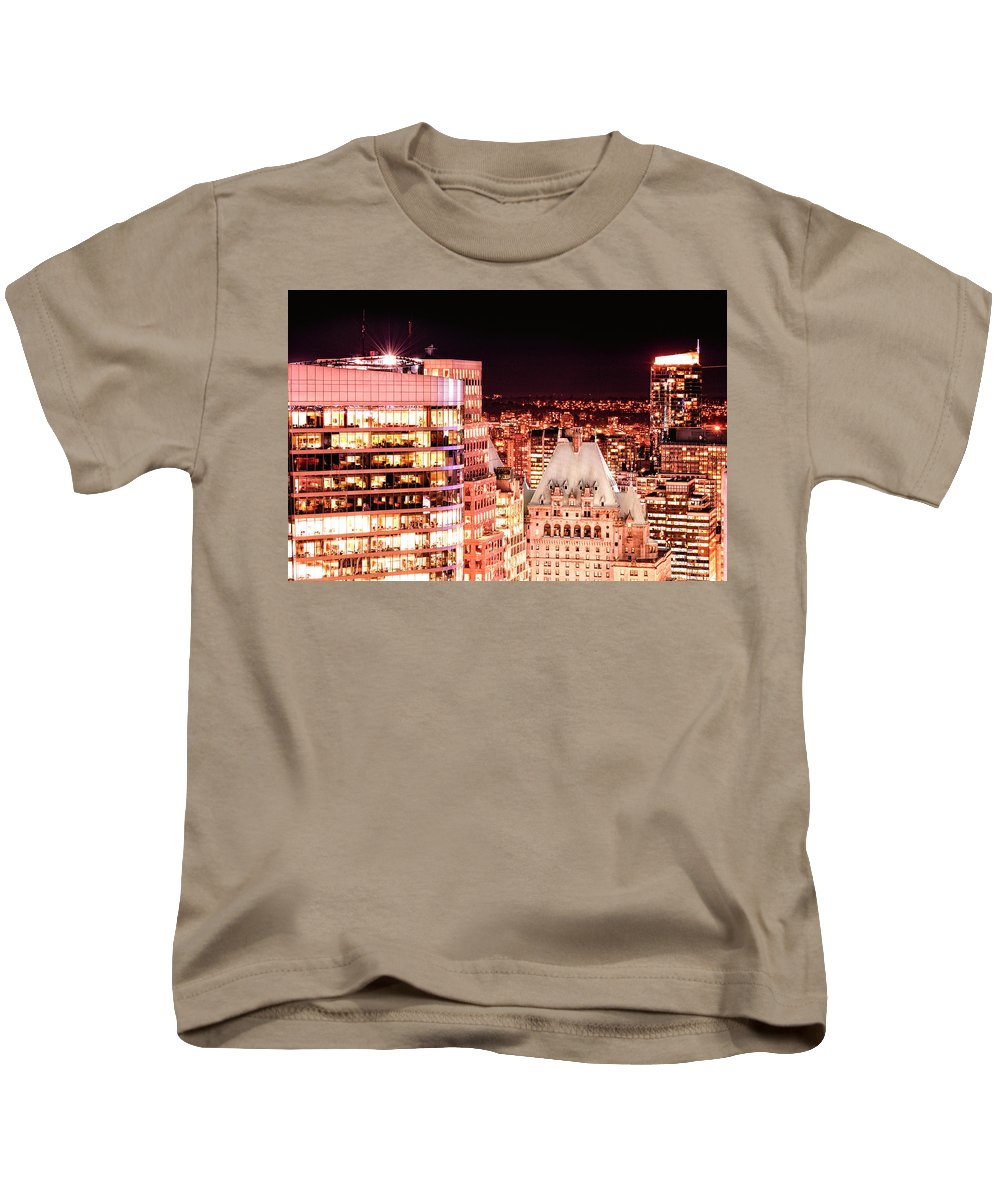 Amyn Nasser Kids T-Shirt featuring the photograph Hotel Vancouver And Sheraton Wall Center by Amyn Nasser