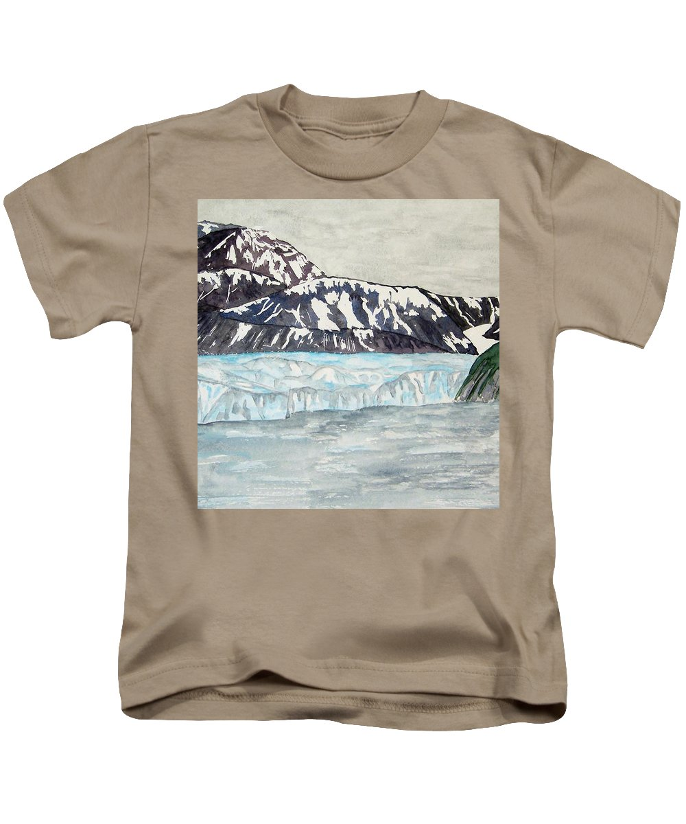 Glacier Kids T-Shirt featuring the painting Hubbard Glacier In July by Larry Wright
