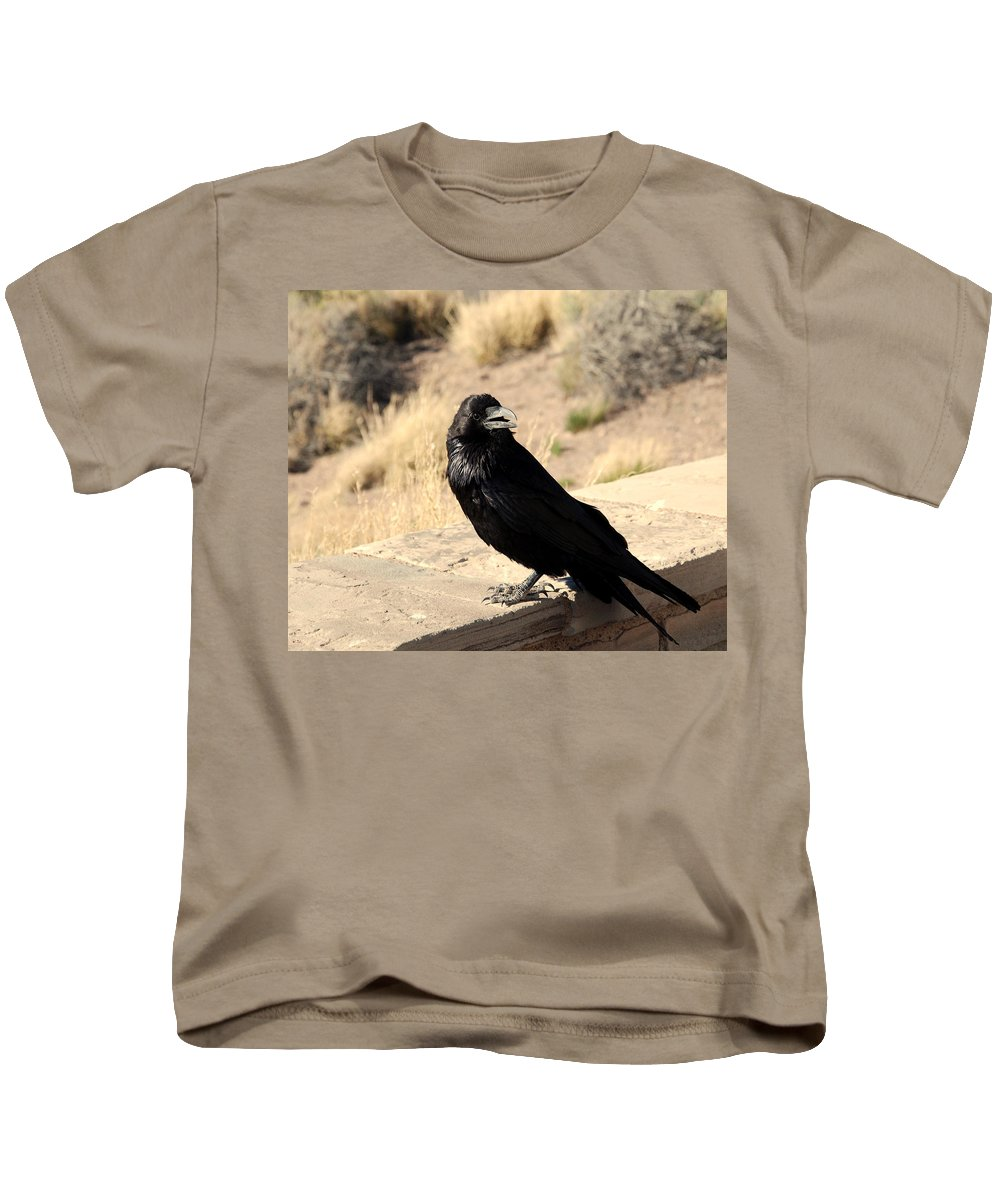Crow Kids T-Shirt featuring the photograph Hungry Crow by Susanne Van Hulst