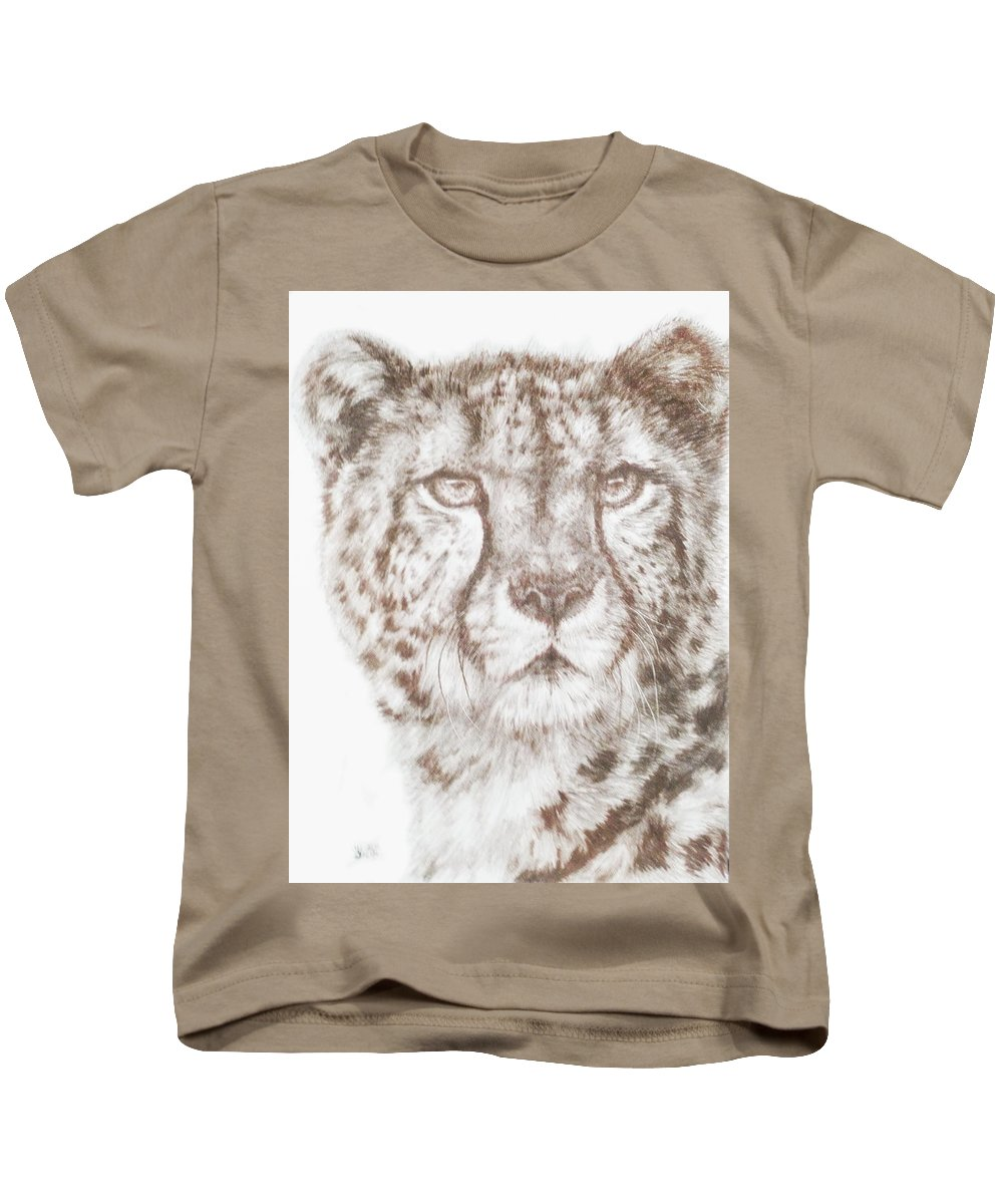 Cheetah Kids T-Shirt featuring the drawing Hustle by Barbara Keith