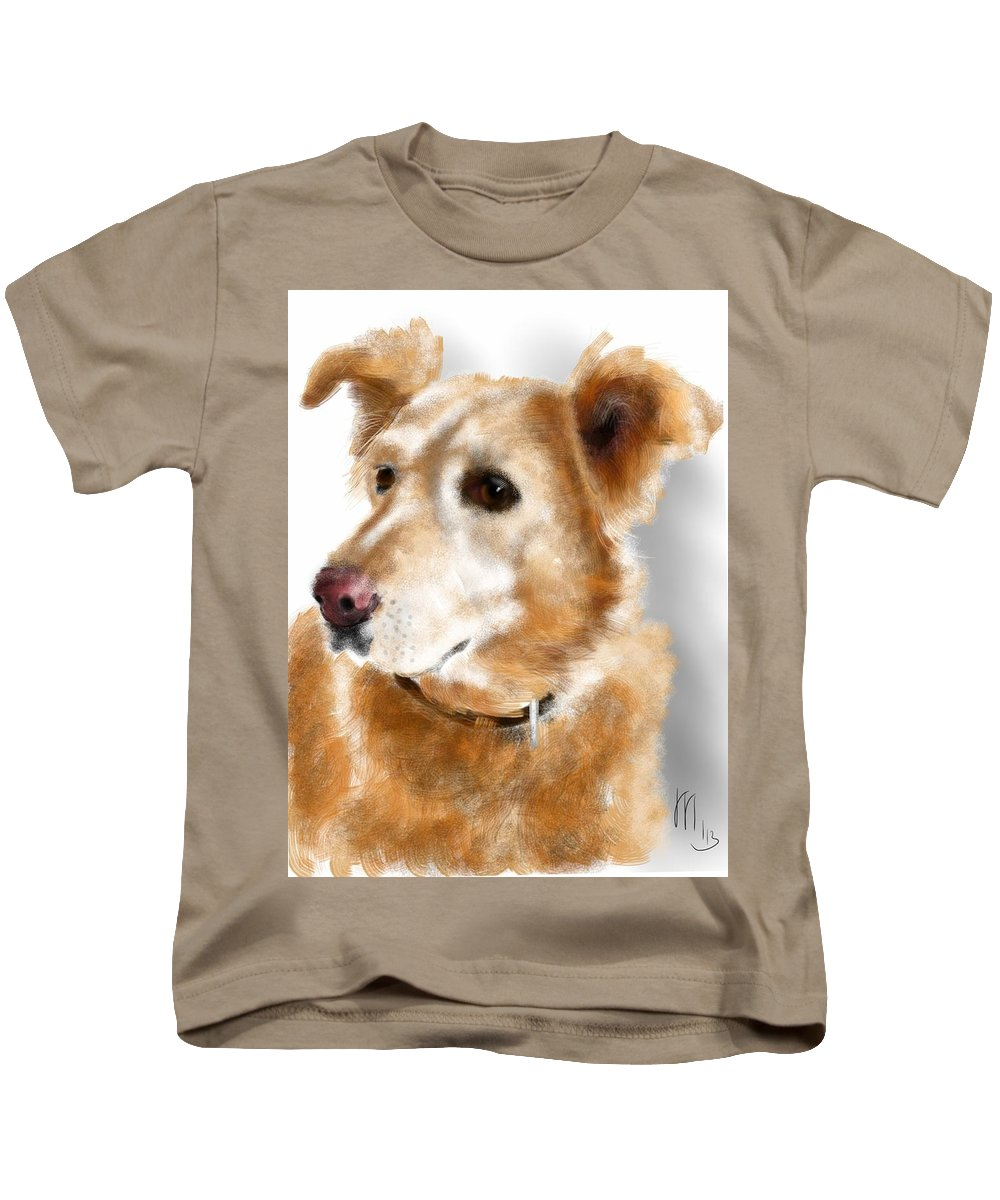 Animals Kids T-Shirt featuring the painting I Hear Something by Lois Ivancin Tavaf