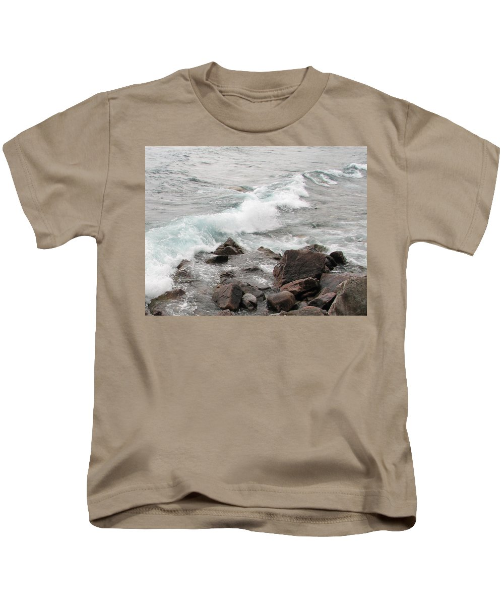 Wave Kids T-Shirt featuring the photograph Icy Waves by Kelly Mezzapelle