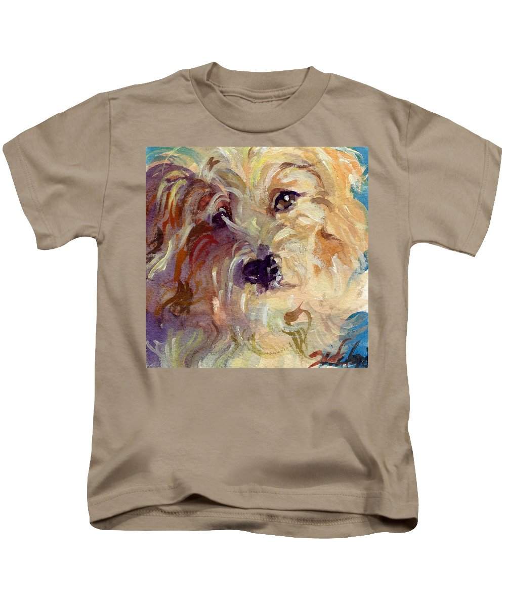 Cute Dog Kids T-Shirt featuring the painting I'm So Cute by Sheila Wedegis