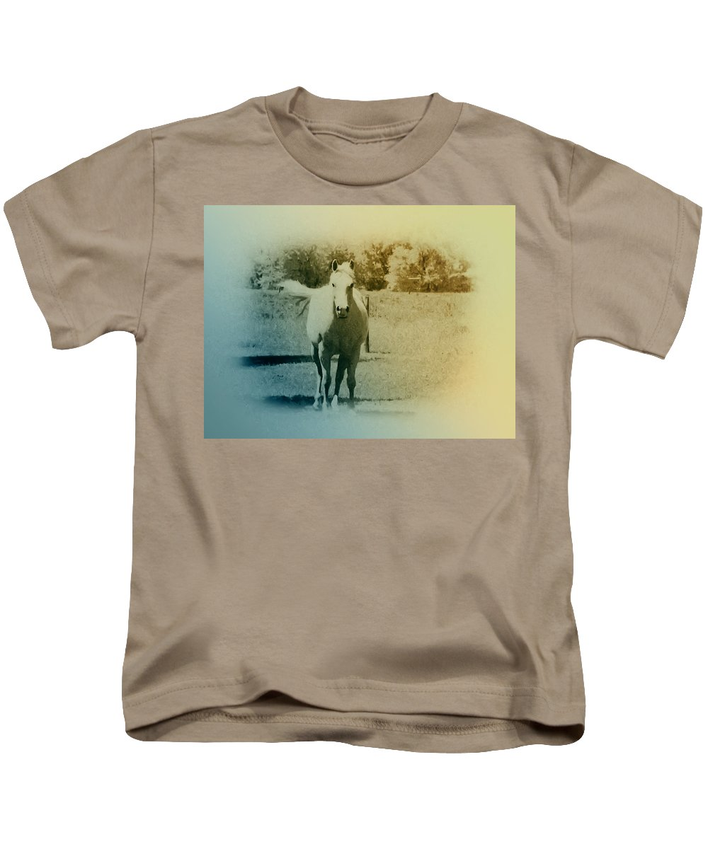 Horses Kids T-Shirt featuring the photograph In The Meadow by Bill Cannon