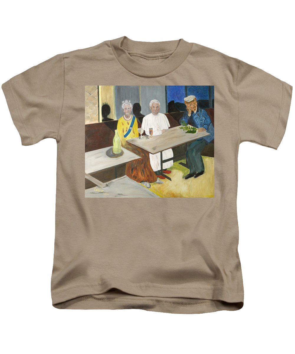 Pub Kids T-Shirt featuring the painting In The Pub by Avi Lehrer