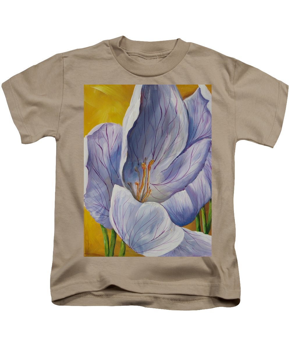 Flower Kids T-Shirt featuring the painting Inchworm by Melody Horton Karandjeff