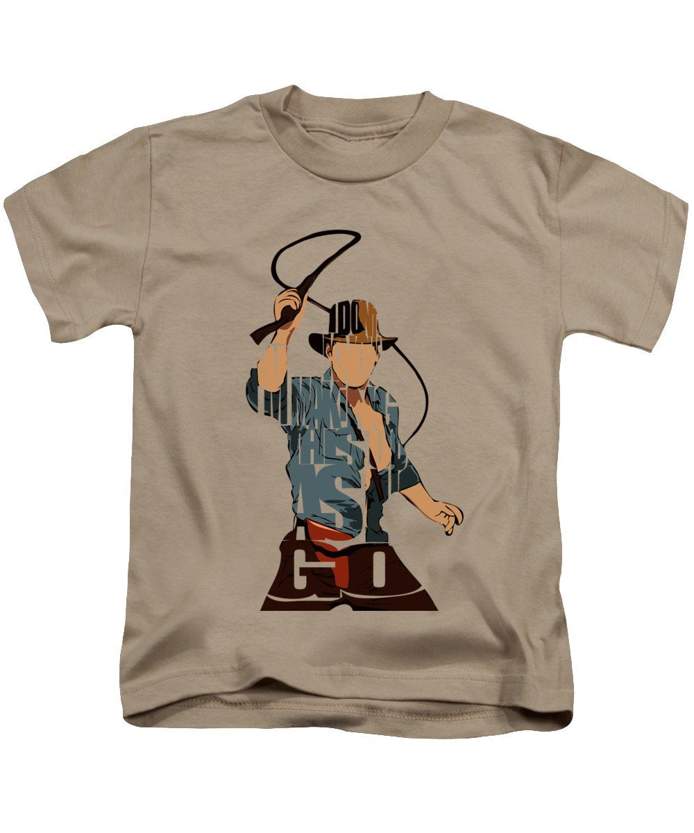 Indiana Jones Kids T-Shirt featuring the painting Indiana Jones - Harrison Ford by Inspirowl Design