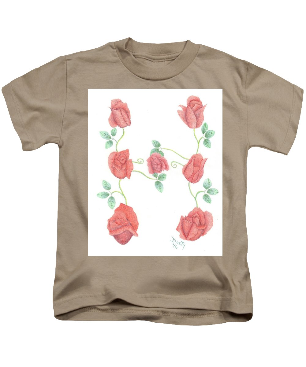 Rose Kids T-Shirt featuring the drawing Initial H by Dusty Reed
