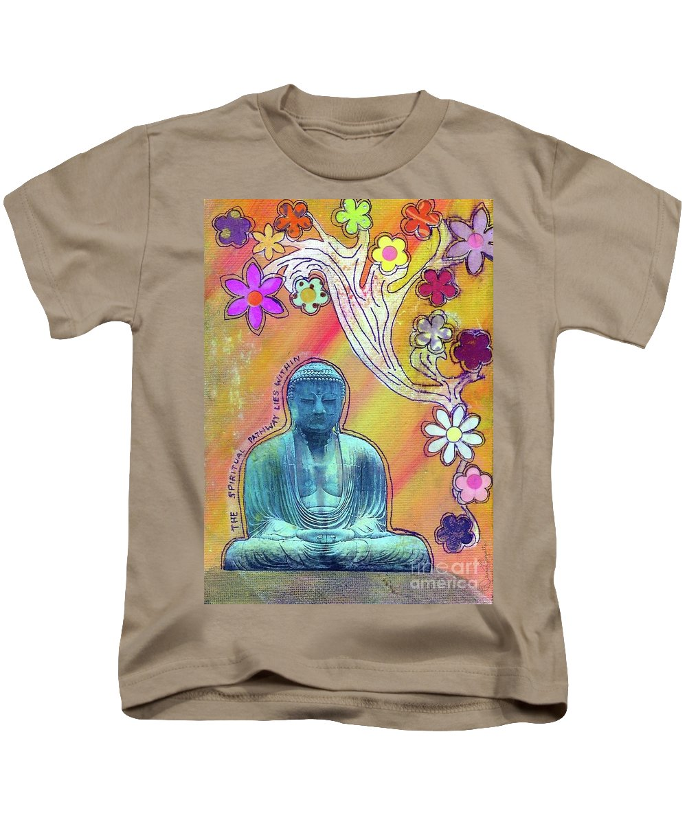 Budda Kids T-Shirt featuring the mixed media Inner Bliss by Desiree Paquette