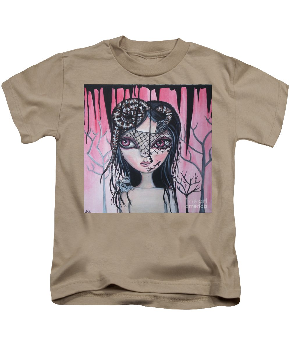 Art Kids T-Shirt featuring the painting Into The Darkness by Jaz Higgins