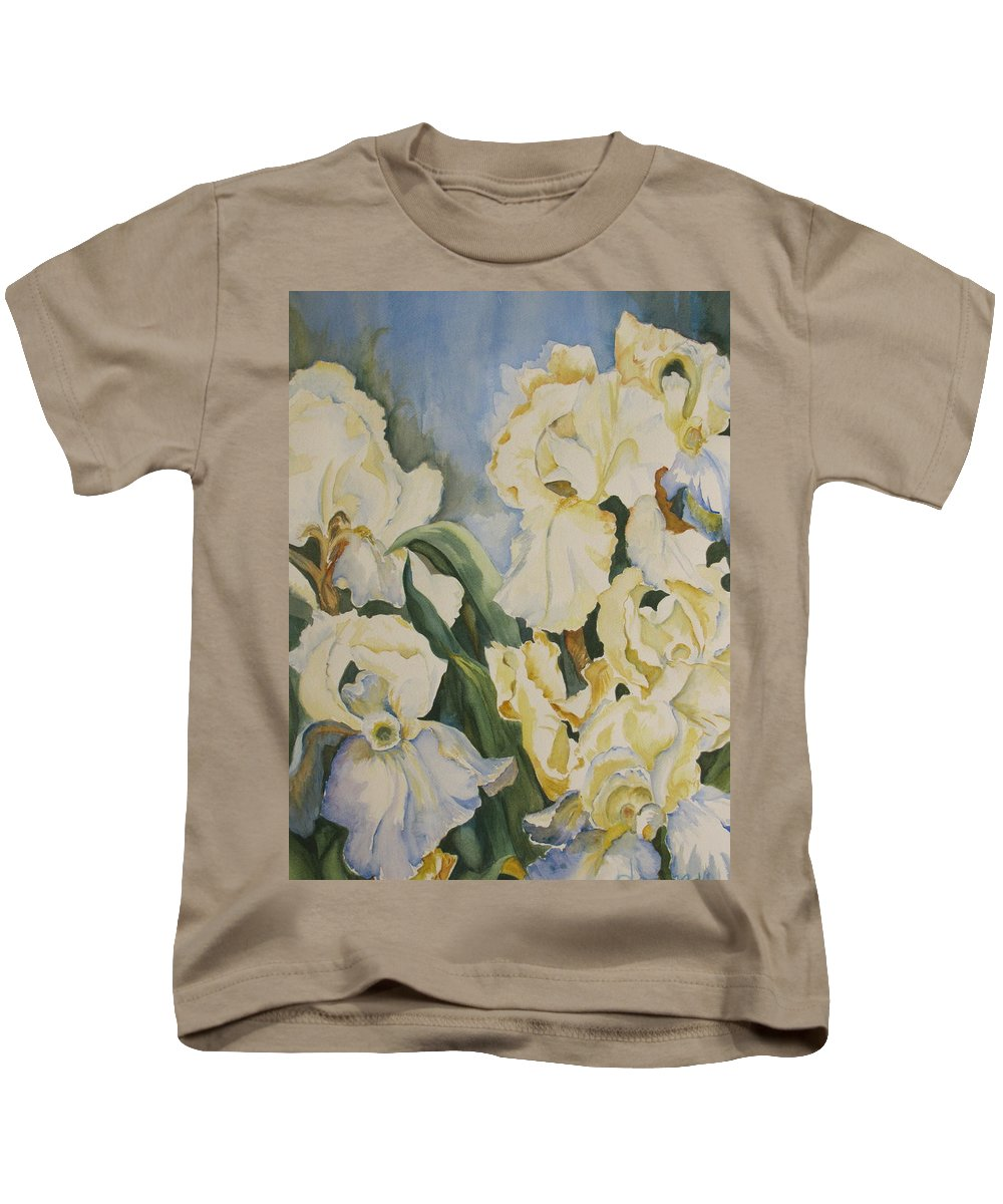 Kids T-Shirt featuring the painting Iris by Donna Steward