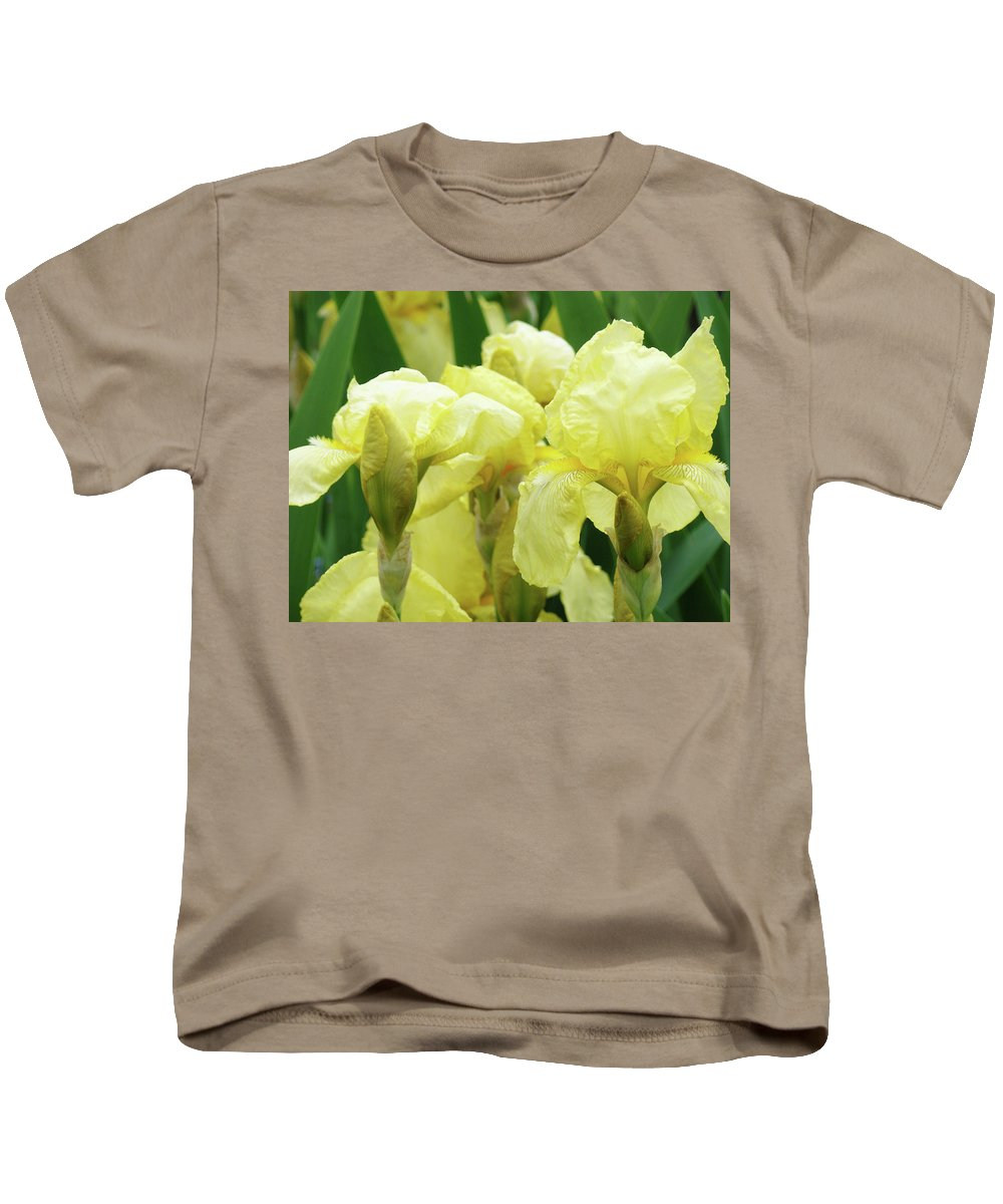 Iris Kids T-Shirt featuring the photograph Irises Flower Garden Yellow Iris Baslee Troutman by Baslee Troutman