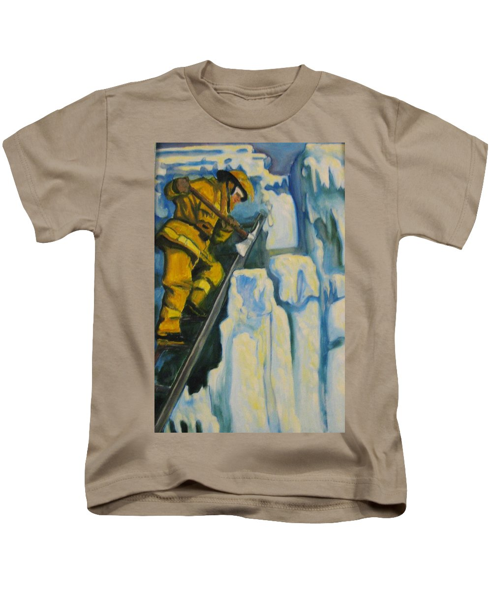 Firefighters Kids T-Shirt featuring the painting Its Not Over Till Its Over by John Malone