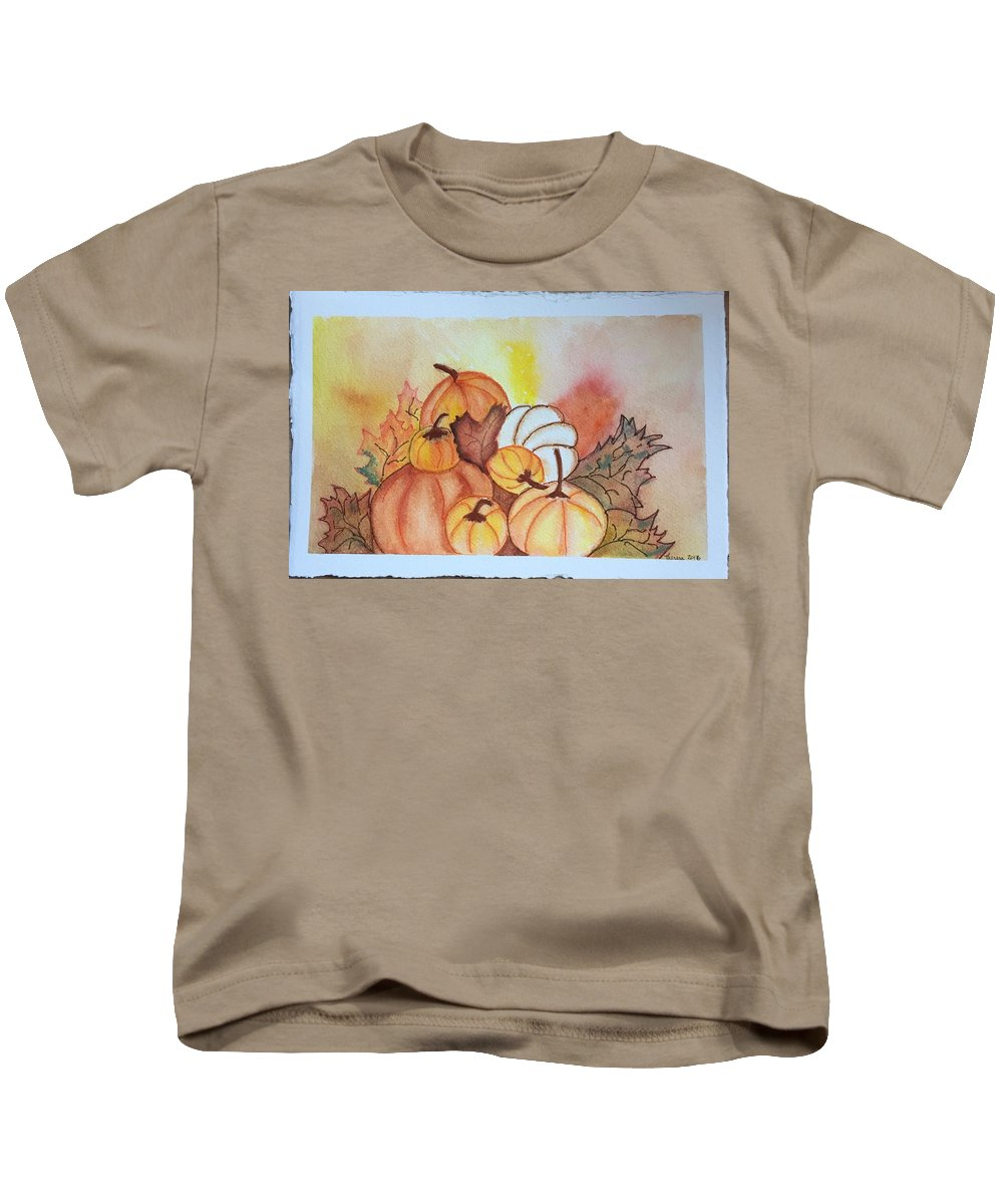 Pumpkins Kids T-Shirt featuring the painting It's Pumpkin Time by Theresa Honeycheck