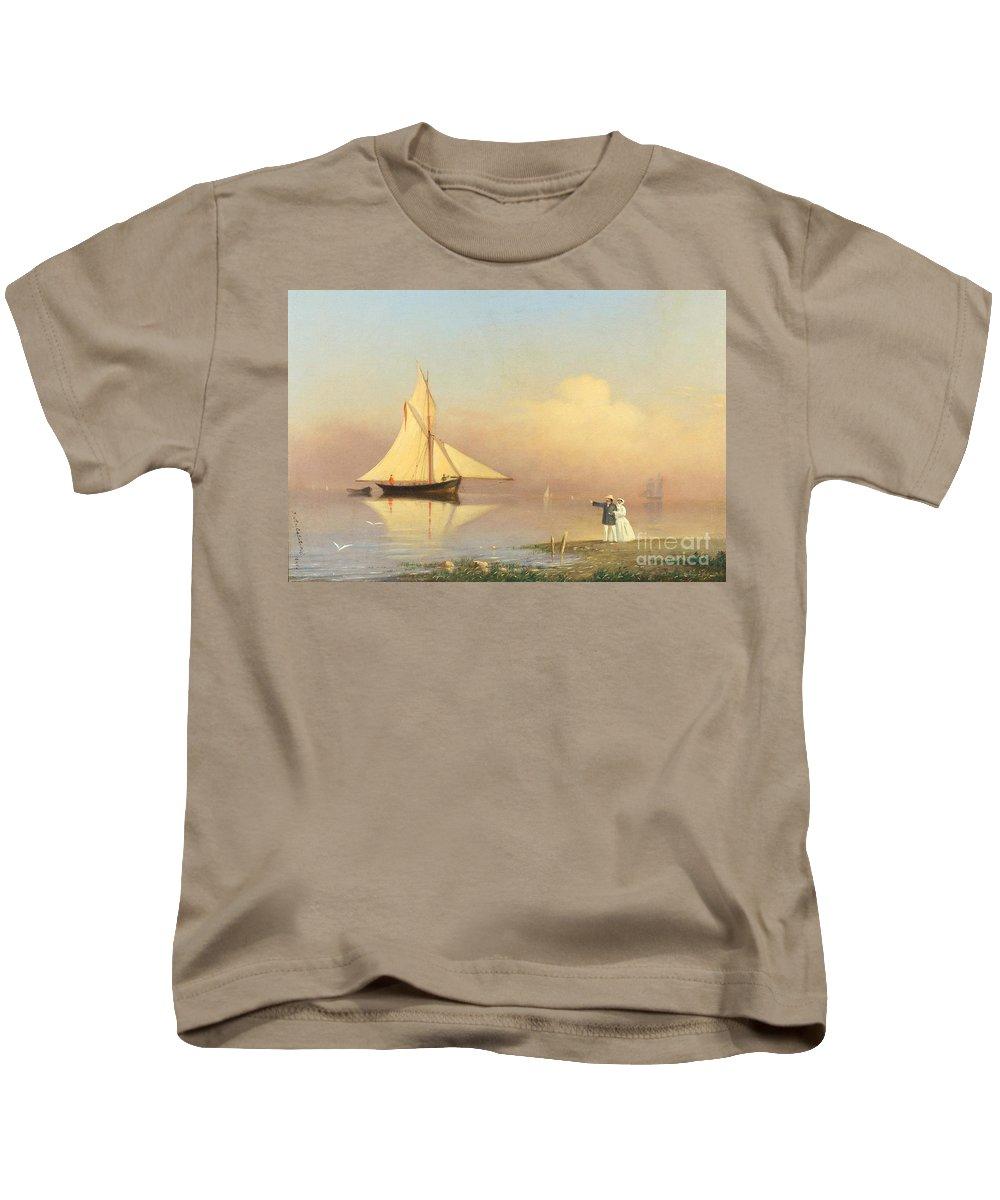 Ivan Konstantinovich Aivazovsky (russian 1817-1900) Romance Kids T-Shirt featuring the painting Ivan Konstantinovich Aivazovsky by MotionAge Designs