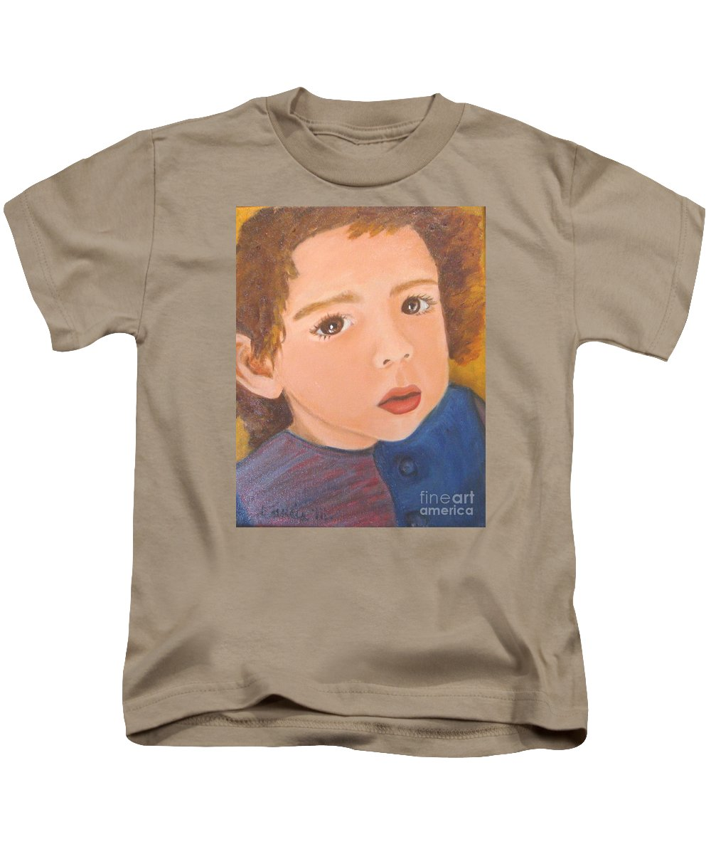 Portrait Kids T-Shirt featuring the painting Jackson by Laurie Morgan