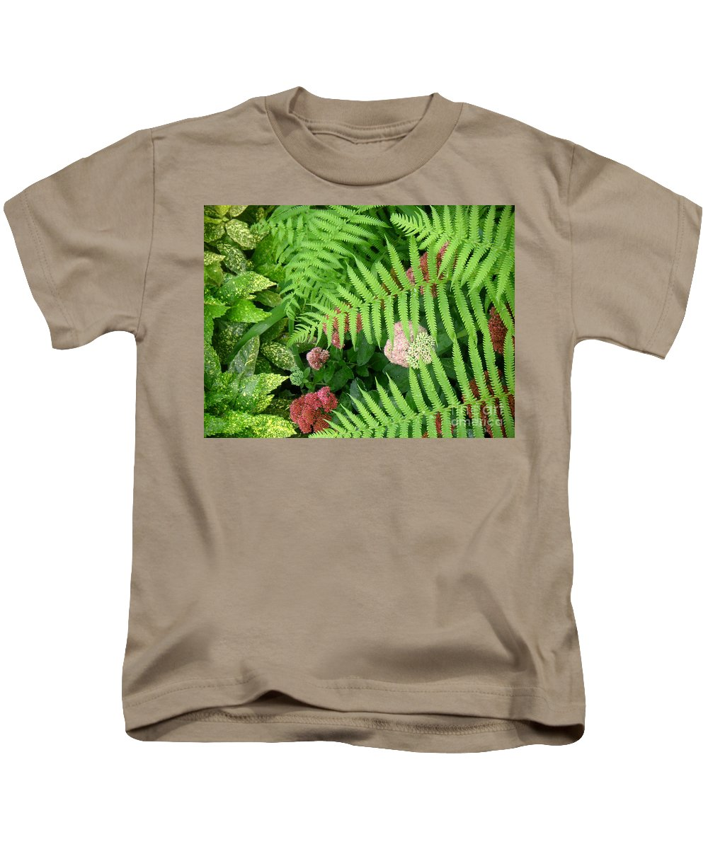 Nature Kids T-Shirt featuring the photograph Jacqueline's Garden - Camaraderie Of Textures by Lucyna A M Green