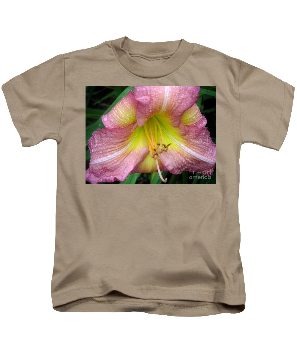 Nature Kids T-Shirt featuring the photograph Jacqueline's Garden - Lily Glistening Thrice by Lucyna A M Green