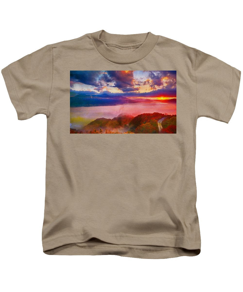 Aso Kids T-Shirt featuring the painting Japan - Id 16235-142803-1146 by S Lurk