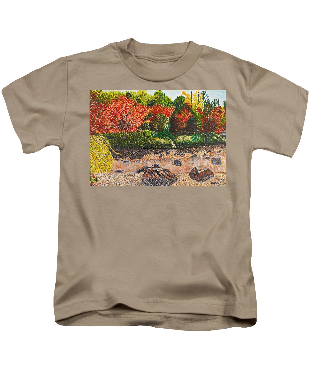 Landscape Kids T-Shirt featuring the painting Japanese Maple Trees At The Creek by Valerie Ornstein